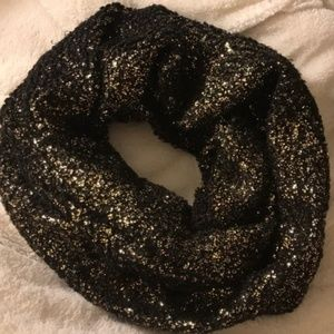 Express Sparkly Black & Gold Infinity Scarf
